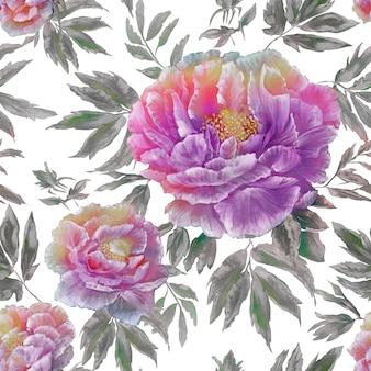 Naadloos patroon van mooie blauwe bloesembloemen met bladeren en knoppen
