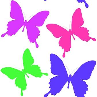 Naadloos patroon van silhouetten van vlinders. natuurlijke achtergrond van prachtige insecten.