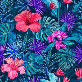 Naadloos patroon van tropische bloemen en planten op een blauwe achtergrond waterverftekening