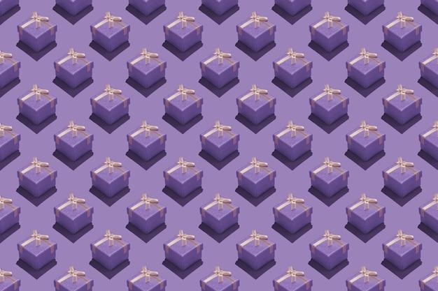 Naadloos repetitief patroon met paarse geschenkdozen op paarse achtergrond.