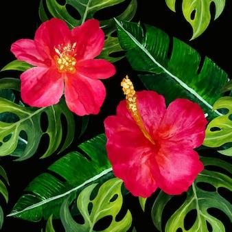 Naadloos tropisch patroon met bloemen.