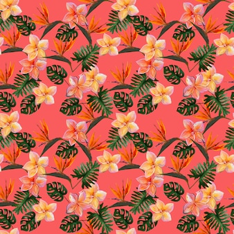 Naadloos tropisch patroon met plumeria en strelitzia met bladeren op koraalachtergrond.