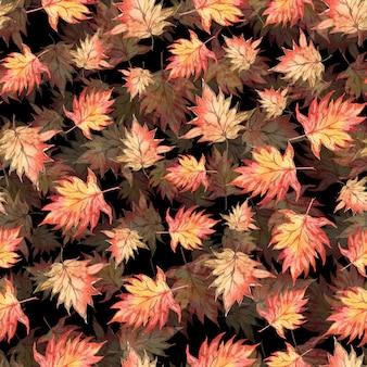 Naadloos waterverfpatroon van de bladeren van de de herfstesdoorn