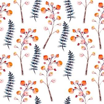 Naadloze achtergrond. set bloemtakken, bessen, bladeren