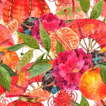 Naadloze aquarel chinees nieuwjaar achtergrond