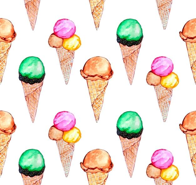 Naadloze aquarel patroon met een aardbei vanille en chocolade-ijs in een kegel