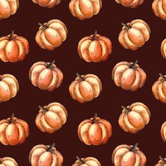 Naadloze aquarel patroon met een oranje pompoen op donkere achtergrond, aquarel illustratie met groenten
