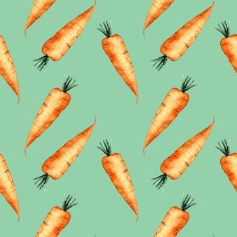 Naadloze aquarel patroon met een oranje wortel op groene achtergrond, aquarel illustratie met groenten