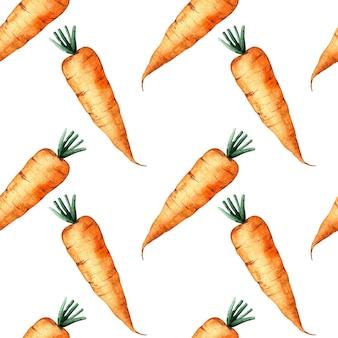 Naadloze aquarel patroon met een oranje wortel op witte achtergrond, aquarel illustratie met groenten