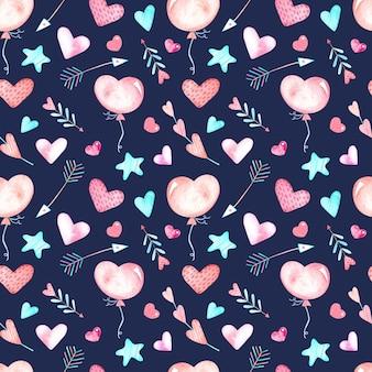 Naadloze aquarel patroon met hartjes, pijlen en sterren op een blauwe achtergrond, aquarel illustratie voor valentijnsdag.