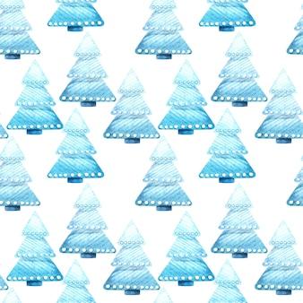 Naadloze aquarel patroon met kerstbomen