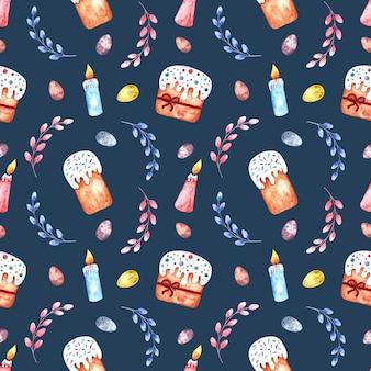 Naadloze aquarel patroon met pasen-taarten, wilgentakken, paaseieren en kaarsen op een gekleurde achtergrond.