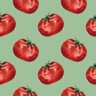 Naadloze aquarel patroon met rode tomaten op groene achtergrond, aquarel illustratie met groenten