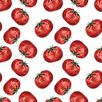 Naadloze aquarel patroon met rode tomaten op witte achtergrond, aquarel illustratie met groenten