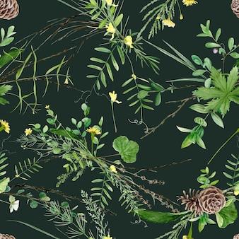 Naadloze bloemmotief met aquarel bos planten en bloemen, artistieke schilderij natuurlijke achtergrond.