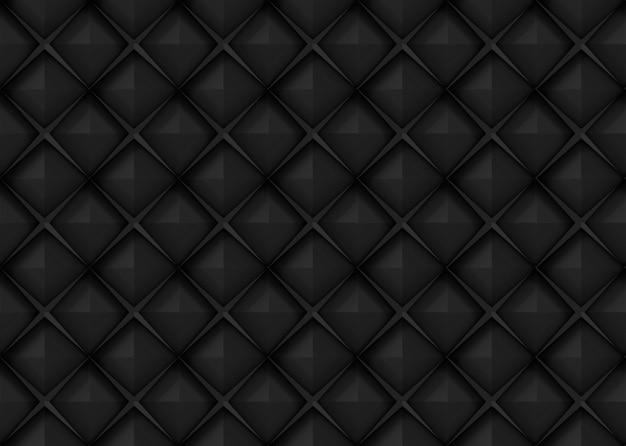 Naadloze donkere zwarte vierkante raster kunst ontwerp vorm patroon muur achtergrond.