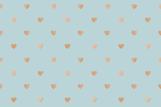 Naadloze glittery gouden harten patroon achtergrond