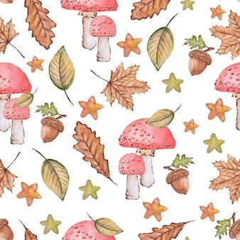 Naadloze herfst patroon van bladeren en paddestoelen aquarel geschilderd door op wit