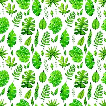Naadloze het patroonachtergrond van waterverf tropische bladeren