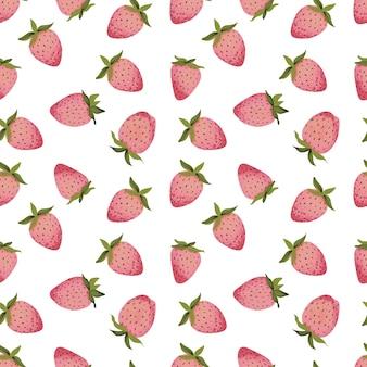 Naadloze patronen met gestileerde afbeeldingen van rijpe aardbeien in verschillende vormen