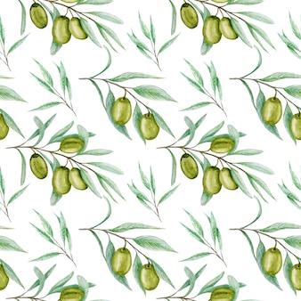 Naadloze patroon aquarel groene olijfboom tak bladeren