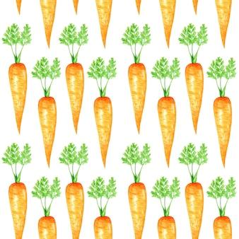 Naadloze patroon aquarel oranje wortel