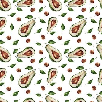 Naadloze patroon avocado handgetekende aquarel illustratie.
