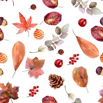 Naadloze patroon blad herfst