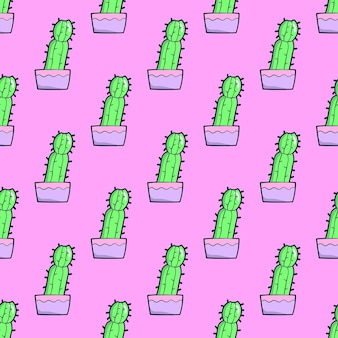 Naadloze patroon. cactus op roze achtergrond. gebruik voor t-shirt, wenskaarten, inpakpapier, posters, stoffenprint. mode minimale illustratie