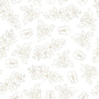 Naadloze patroon. gouden contouren van lentebloemen en bladeren.