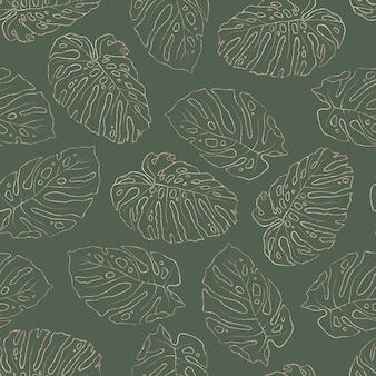 Naadloze patroon. gouden elementen van takken en bladeren.