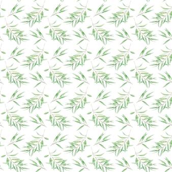 Naadloze patroon groen aquarel olijfboom tak bladeren