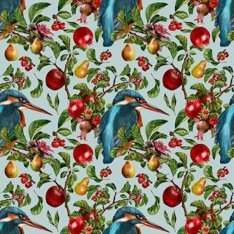 Naadloze patroon hand getekende aquarel schilderij van flora laat plant en fruit met tropische vogels.