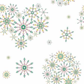 Naadloze patroon hart en bal van aquarel kerstkristal sneeuwvlok. mooie felle kleuren sieraden decoratie. mode briljante, applique strass steentjes. nieuwjaar stof textuur