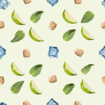 Naadloze patroon. kalk, munt, suiker en ijsblokje op een wit.