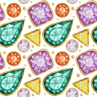 Naadloze patroon kristal in een gouden frame en sieraden kralen. hand getekend aquarel edelsteen diamant. heldere kleuren stof textuur. witte achtergrond voor scrapbooking