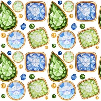 Naadloze patroon kristal in een gouden frame en sieraden kralen. hand getekende aquarel groene, gele edelsteen diamant. heldere kleuren stof textuur. witte achtergrond voor scrapbooking