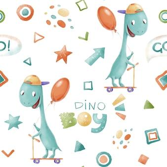 Naadloze patroon. leuke cartoondinosaurussen. print voor de kinderkamer.