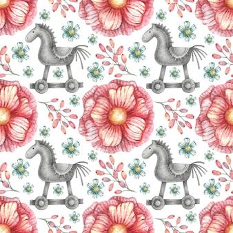 Naadloze patroon met afbeeldingen van een grafisch paard op wielen en roze levendige kleuren.