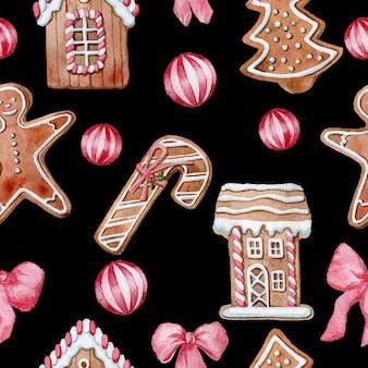 Naadloze patroon met aquarel kerstkoekjes gember