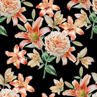 Naadloze patroon met aquarel rozen