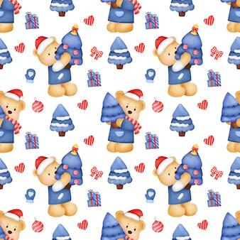 Naadloze patroon met beren en kerstdecoratie in aquarel stijl.