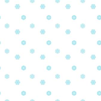 Naadloze patroon met blauwe sneeuwvlokken op wit.