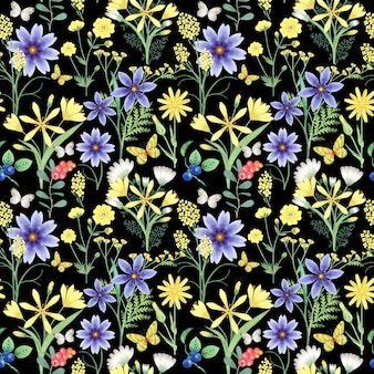 Naadloze patroon met bloemen op zwart.