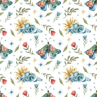 Naadloze patroon met de afbeelding van bloemen, blauwe vlinders-meisjes, sterren, wolken en de zon