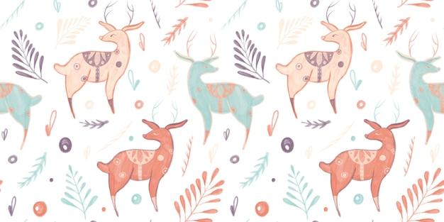 Naadloze patroon met illustratie van lama's herten bladeren doodles geïsoleerd op een witte background