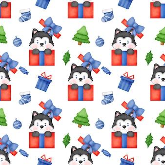 Naadloze patroon met kerst siberische husky hond met kerstmuts.