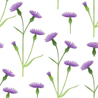Naadloze patroon met lente paarse korenbloemen op witte achtergrond