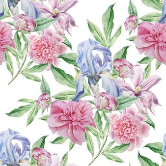 Naadloze patroon met lentebloemen.