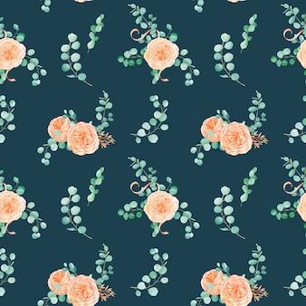 Naadloze patroon met perzik en oranje met engels rose austin flower en eucalyptus achtergrond en eucalyptus